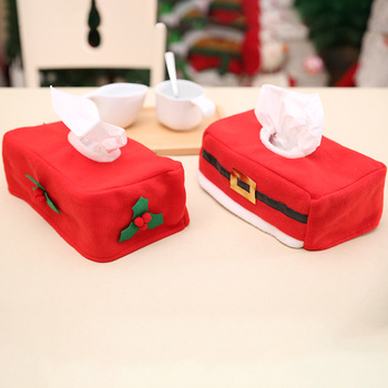 Merry Christmas Elf tissue box cover Christmas home Table decoration Creative Belt/Clover Pattern napkin holder For Paper Towel