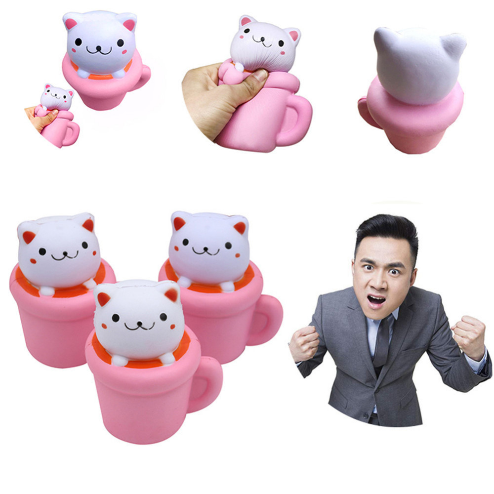 Novelty & Gag Toys Cute Slow Rising Squeeze Healing Squishy Cat Rebound Dread Cake Squishy Simulation Sitting Cat Foam Adult Decompression Toys