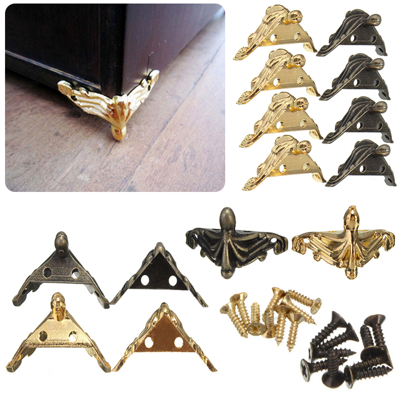 4Pcs Antique Brass Corner Bracket Jewelry Gift Box Wood Case Decorative Feet Leg Corner Protector Furniture Fittings corner protector bronze tone antique brass jewelry gift box wood case decorative feet leg 4 1x2 3cm 1pc