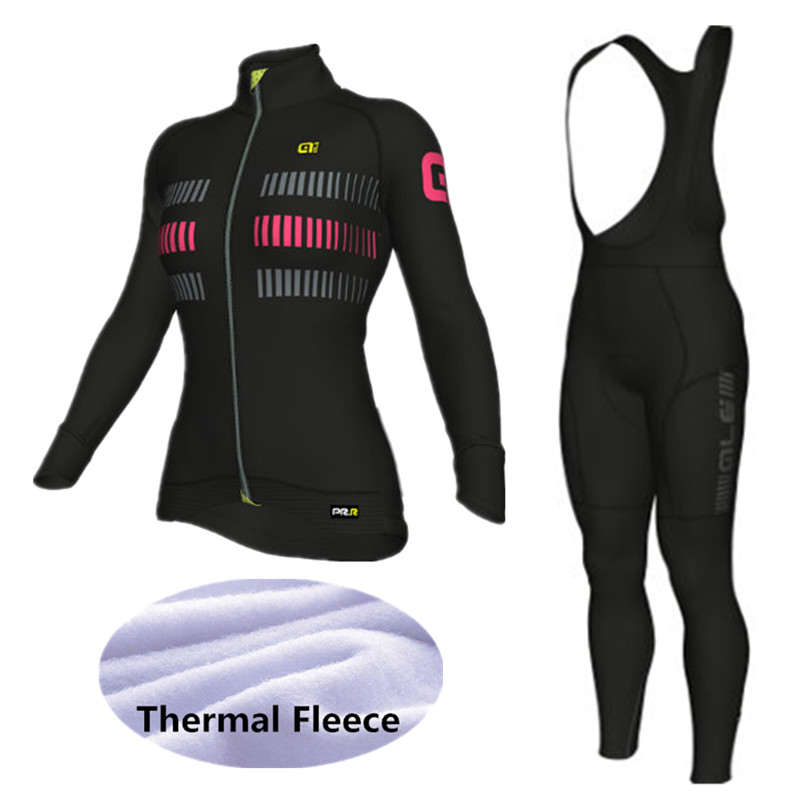 ALE Cycling Set Women Winter Thermal Fleece Long Sleeves Cycling Jerseys Bicycle outdoor sports clothing