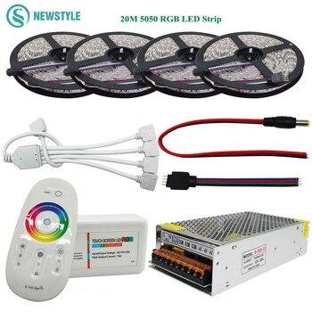 DC12V цветных (RGB) светодиодных лент 5050 водонепроницаемый 60led/m светодиодный гибкий фонарь лента 5 м 10 м 15 м/20 м + RF пульт дистанционного управлени...