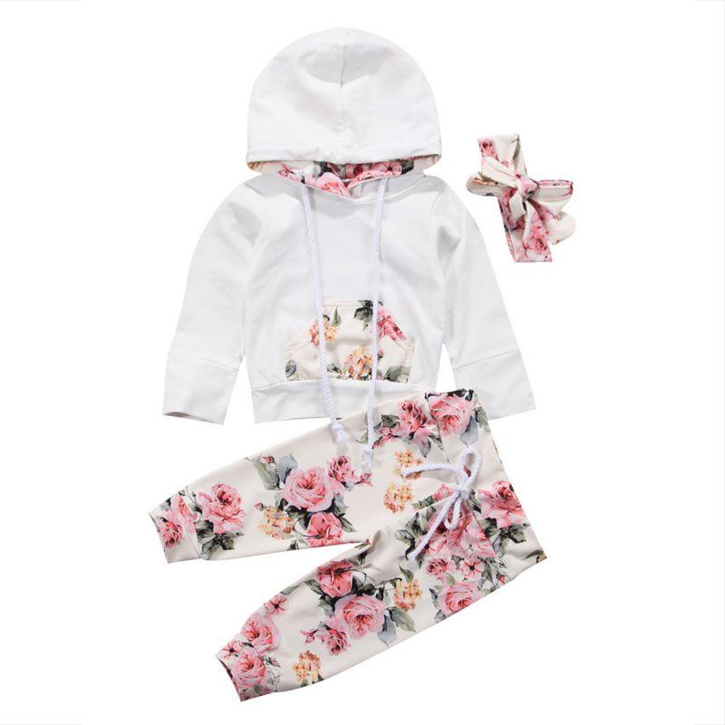 3PCS Baby Kids Girls Outfits Set Clothes Hooded Tops Jacket Coat+Pants+Headband