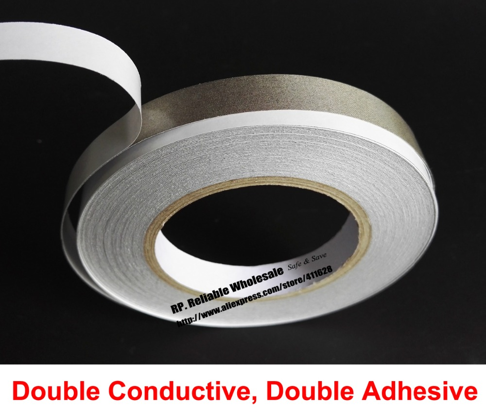 (12mm*20M) 2 Sides Sticky, 2 Sides Conductive Fabric Cloth Tape for Laptop Cellphone EMI Shielding Electromagnetic Waves Masking 1x 8mm 20m emi shielding tape silver plain conductive fabric for pc phone cable wraping electromagnetic shielding