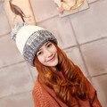 Плюс бархат осенью и зимой шляпы Леди вязать смешанные патч ткань цветок линия крышка Теплая шапка Женщины головкой
