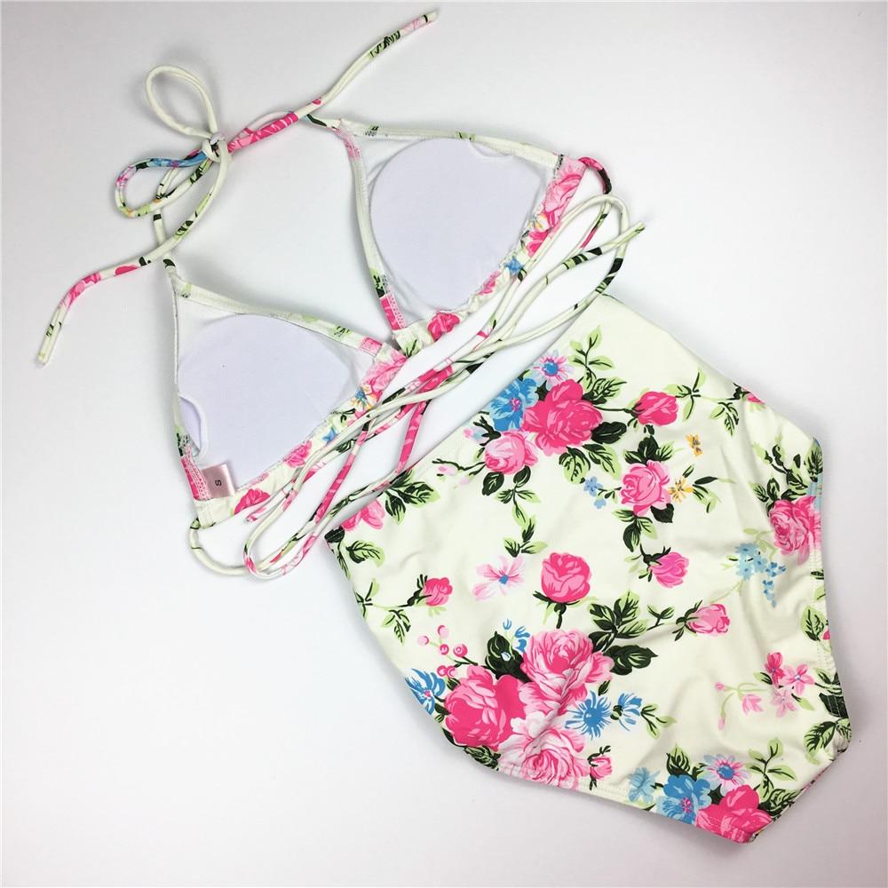 Blom Bikini Set Hög midja Baddräkt Klipp ut Badkläder Kvinna - Sportkläder och accessoarer - Foto 4