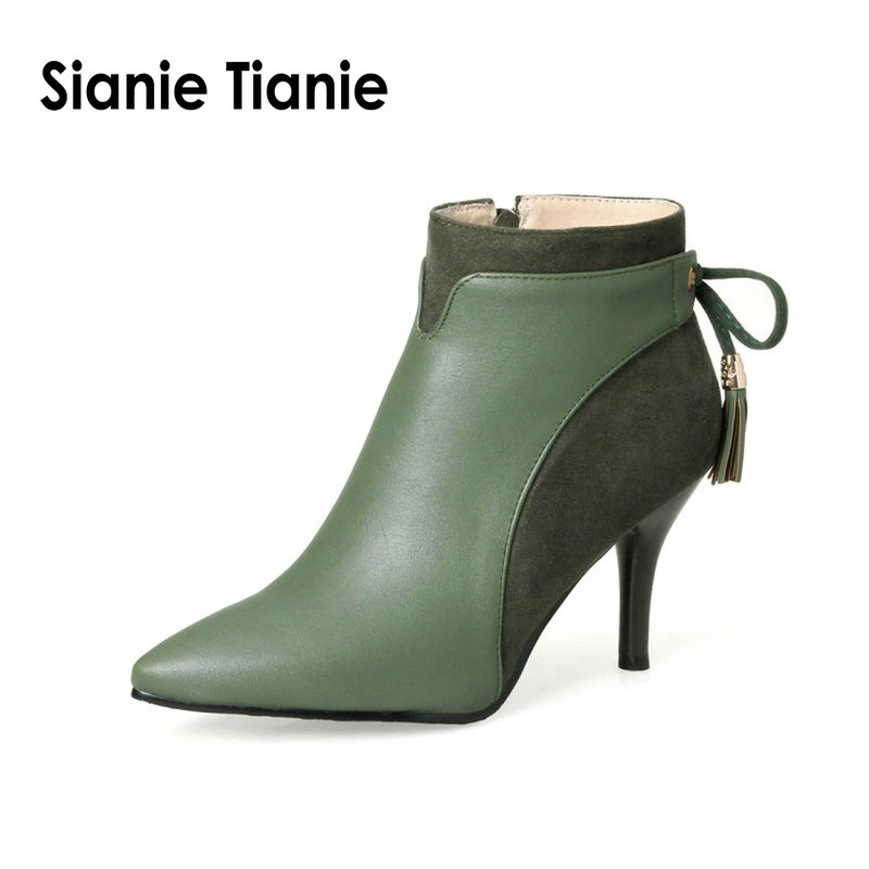 Sianie Tianie 2019 winter autumn thin high heels shoes woman elegant ladies pumps green ankle boots women boots with bowtie knot