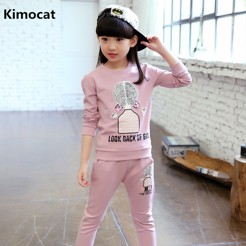 все цены на Kimocat 2018 Girls Clothing Set Casual Kids Sport Suits For Girls Children Tracksuits 4-12Y Costume For Girl Winter clothes онлайн