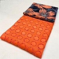 Newest Milk silky Lace Fabrics Milk Silk Cotton lace 3yards+2.5yards African Ankara Fabric Wax Print Fabric Printing 100% Cotton
