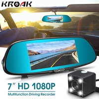 7 Inch Touch Special Car DVR Camera Rearview Mirror Dual Lens Full HD 1080P Video Recorder