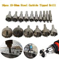 New 16Pcs 15 50mm Carbide Tip TCT Drill Bit Hole Saw For Stainless Steel Metal Alloy