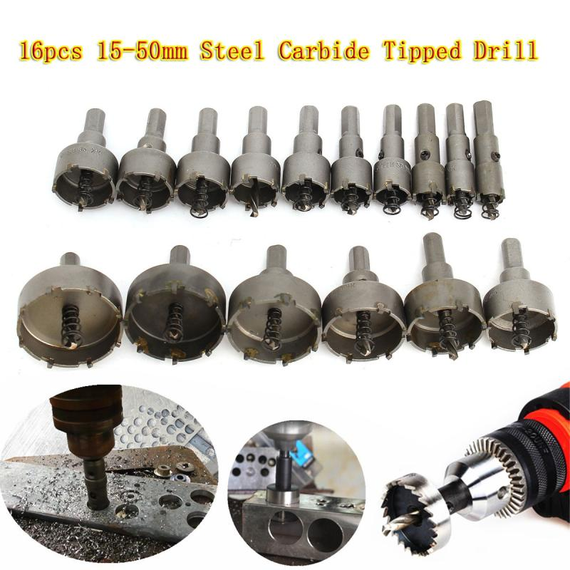 New 16Pcs 15-50mm Carbide Tip TCT Drill Bit Hole Saw for Stainless Steel Metal Alloy Steel Carbide Hole Saw Set lixf carbide tip metal cutter stainless steel hss drill bit hole saw holesaw size 45mm