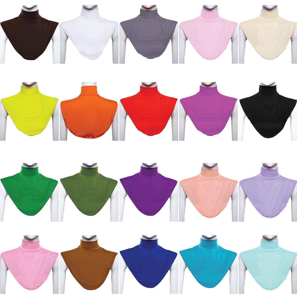 Ramdan Women Muslim Hijab Islamic Turtleneck Neck Cover False Collar Wrap Apparel Moslem Loop Scarf Fake T-shirt Collar  20 Colo