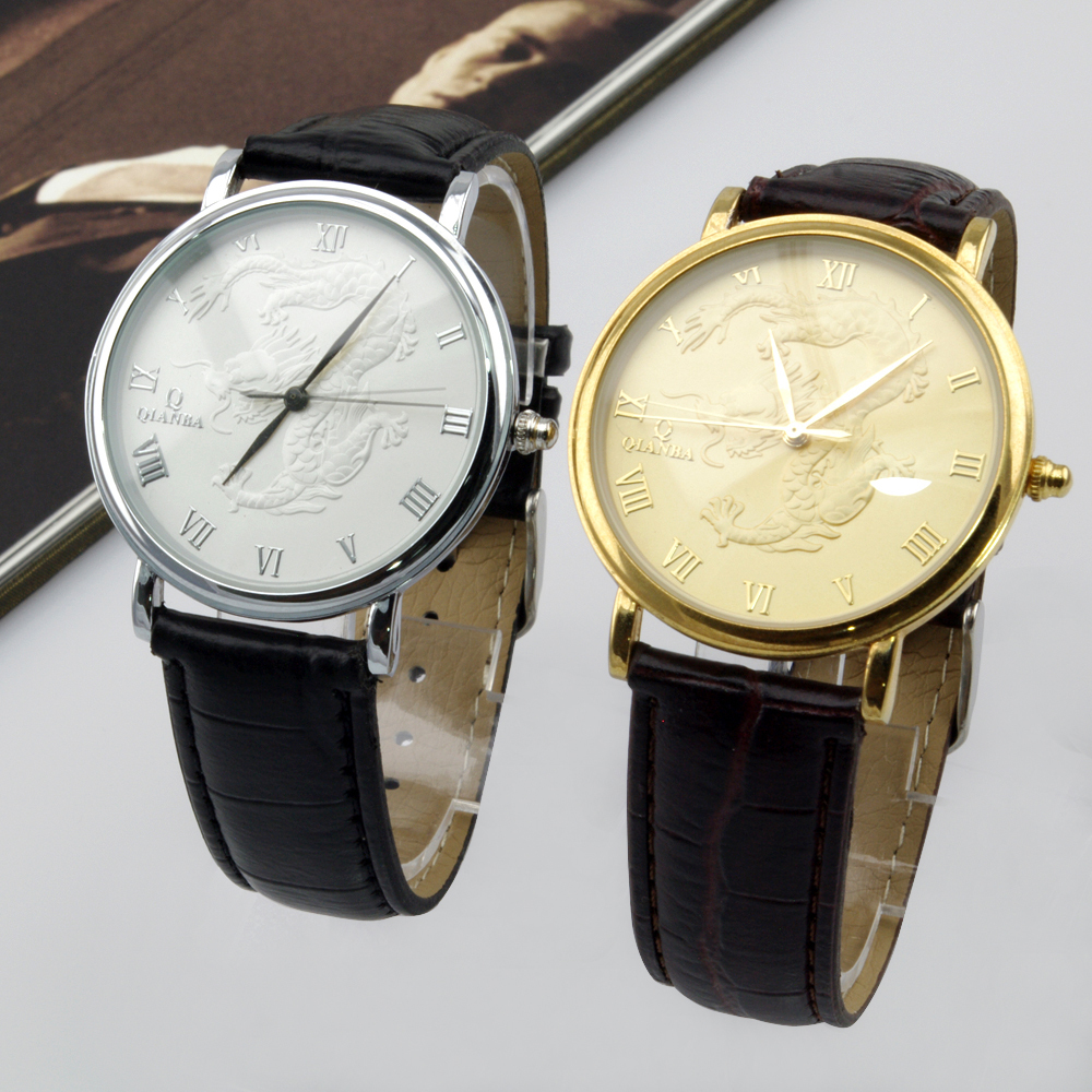 Hot Luxury Brand New 40mm Hot Classic Dragon Leather Strap Antique Mens Analog Wrist Watches men male