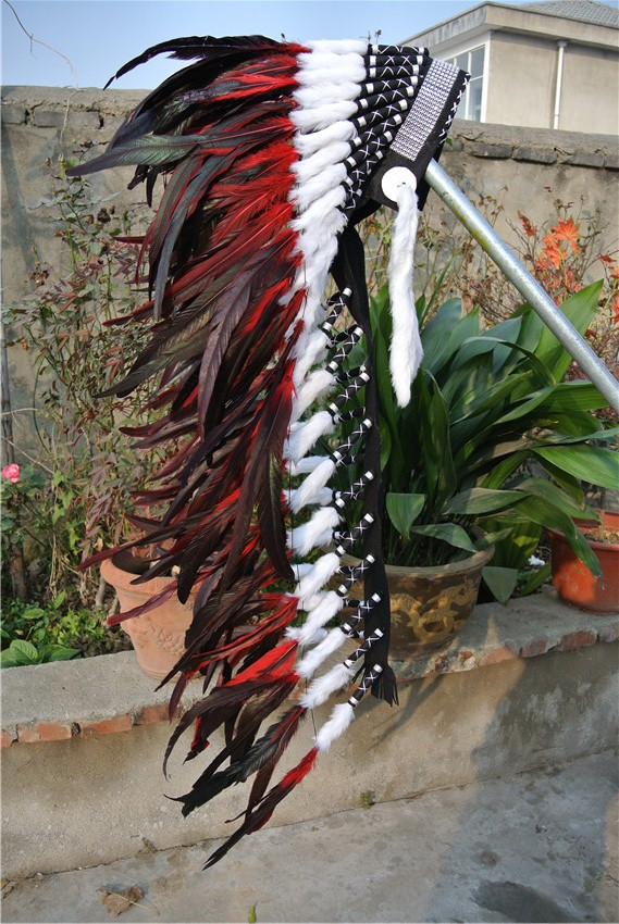36inch RED feather Headdress headpiece with silver band handmade feather headband-in Feather from Home & Garden    1