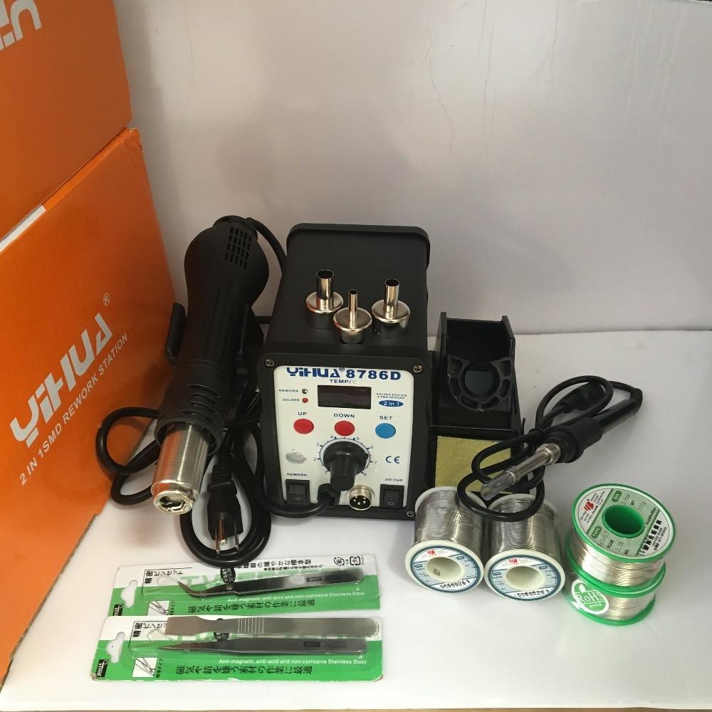 YIHUA 8786D 110V / 220V EU/US PLUG Digital Temperature Control 2 in 1 Solder Station Hot Air Gun With Soldering Iron + Gift