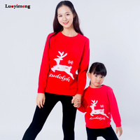 Family Sweaters Christmas Rudolaph Sweater Mother and Daughter Holiday Deer Outerwear Cartoon Family Look Children Cute Clothes