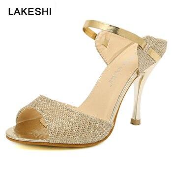 4b5f4e9c91215 Women Heel Sandals Peep Toe High Heel Sandals Women Pumps Female Sandals  Thin Heels Ladies Sandals Wedding Shoes Gold Silver