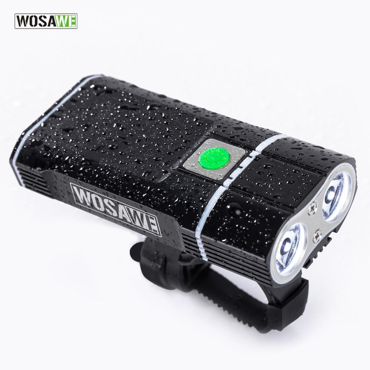 купить WOSAWE 2400 Lumens Bicycle Light with 18650 Built-in Batteries USB Rechargeable Bike Light 2-XML LED lamp Flashlight 5 modes по цене 1799.21 рублей