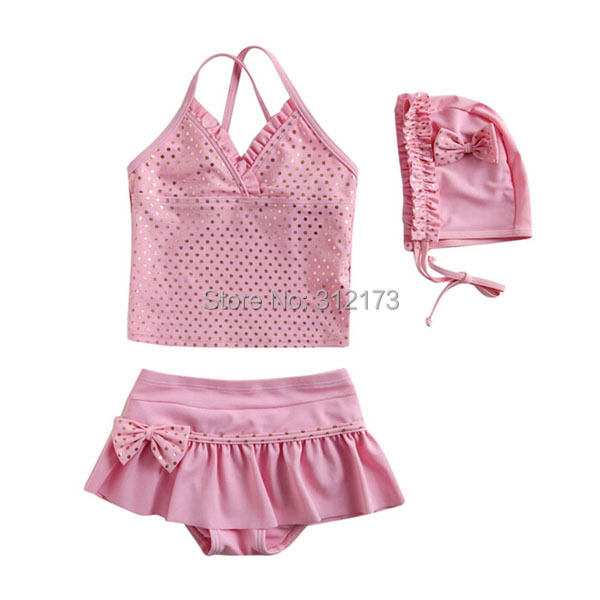 Vivo-biniya Girls Swimwear Children Pink Bowknot Two-piece Bathing Suit Cute Clothing+Shorts+Hats Swimsuit - lianliannishang store