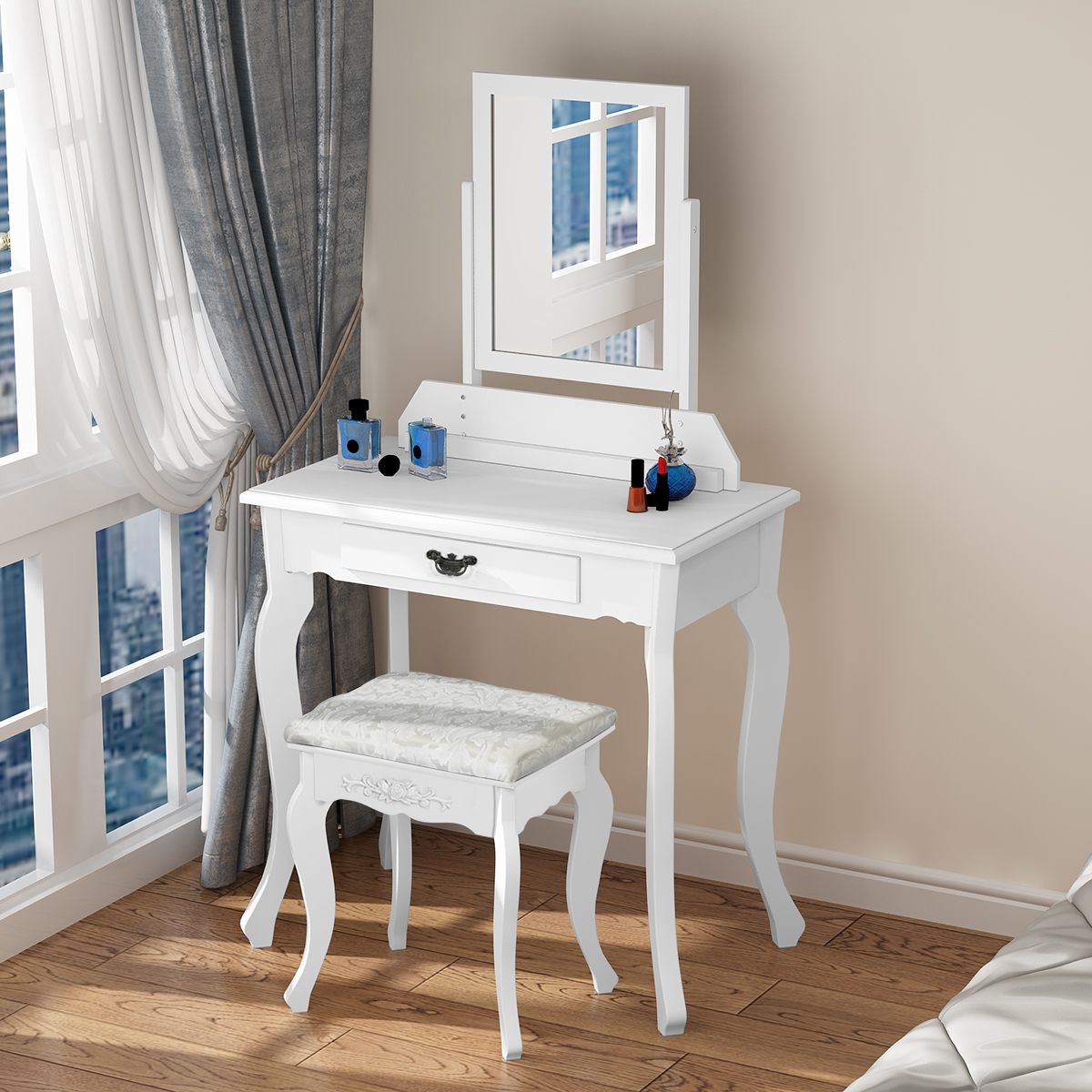 Wooden Dressing Table Makeup Desk With Stool Square Mirror 1 Drawer White Pine Dropshipping giantex wood makeup dressing table stool set jewelry desk drawer mirror black home furniture hw52951bk