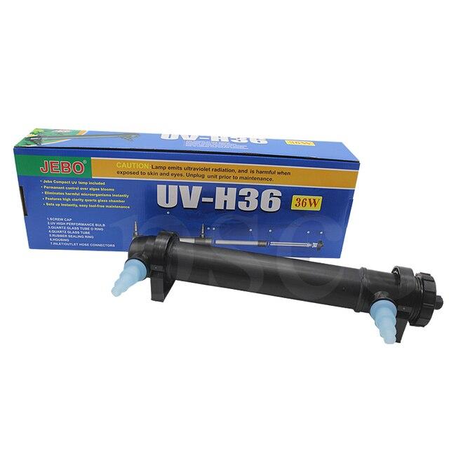 JEBO 220 V UV-H36 36 W lámpara esterilizadora UV luz filtro ultravioleta limpiador de agua para estanque de acuario Coral Koi tanque de peces