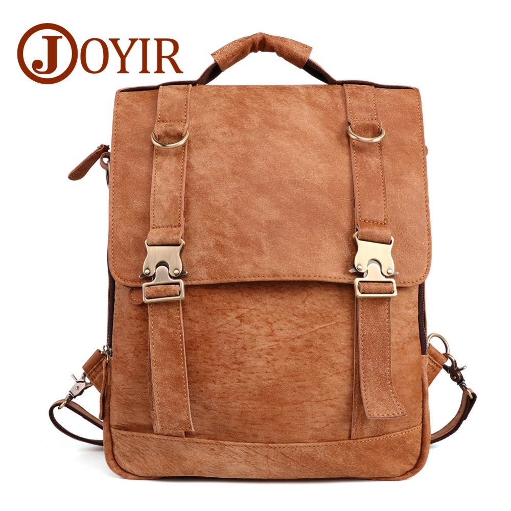 JOYIR Men Genuine Leather Backpacks Vintage Casual Daypack Men Leather Travel Rucksack Tote Laptop Business Backpack mochila Bag