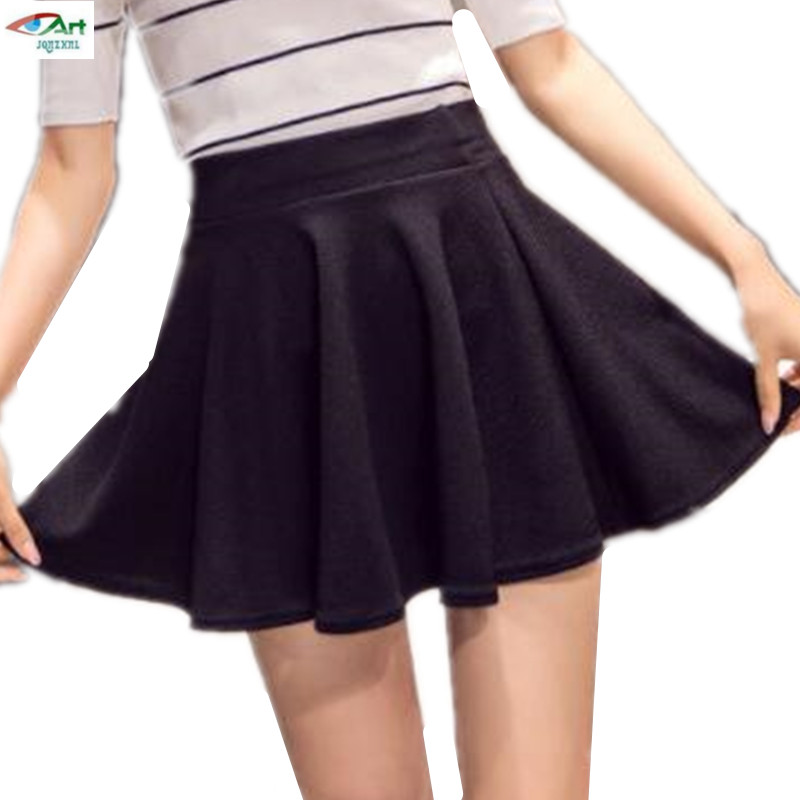 Candy Colors 2019 Women Shorts Skirts Mini Pleated Skirts High Waist Plus Size Skirt With Shorts Casual Wear Spring Summer AS996