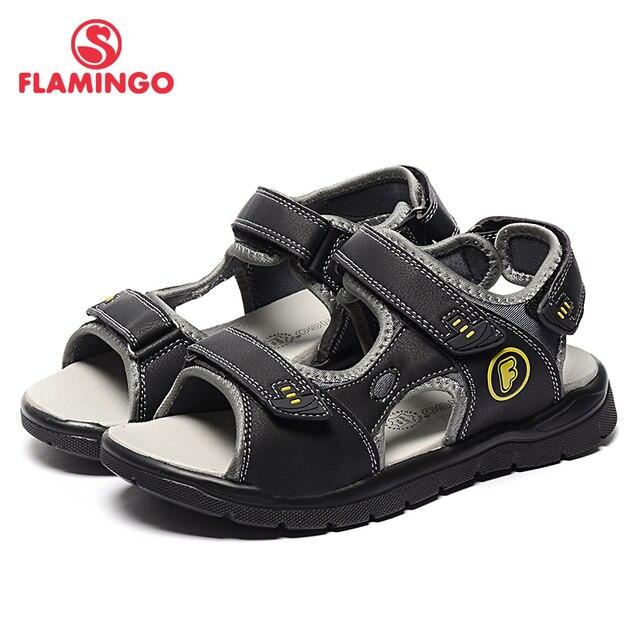 Flamingo известная марка 2017 мода стиль мягкие летние обувь hook & loop лодыжки обертывание серый сандалии для мальчиков 71s-xdb-0196