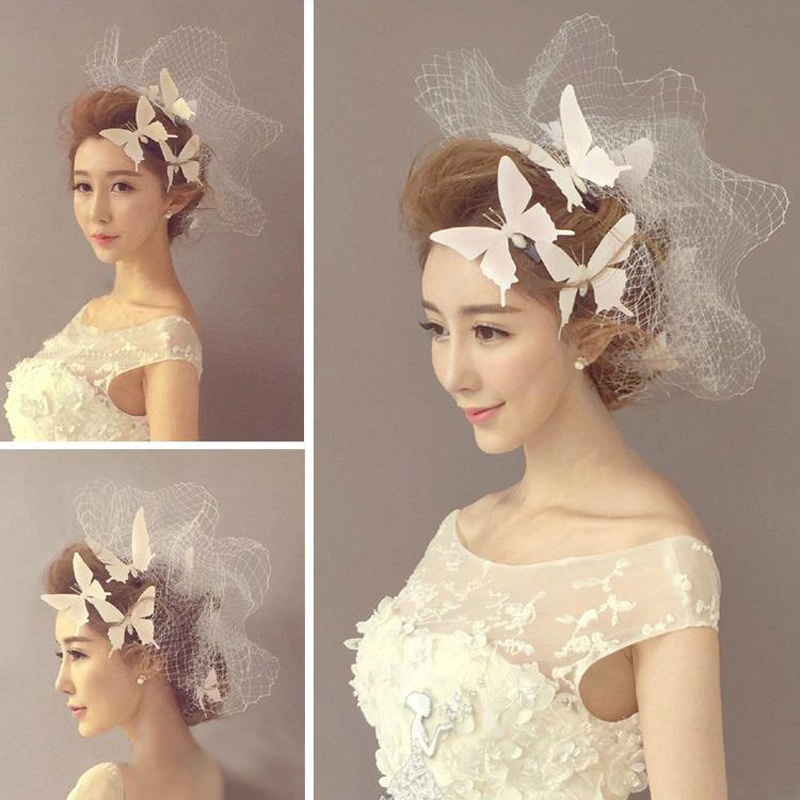 Hairpins Hairclips Hairgrips Flying Bride White Artificial Butterfly Hair Clips Brief Bridemaids Headwear Barrette Accessories 流水 盆 養魚