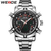 A estrenar Relogios Masculinos hombres deportes relojes de cuarzo militar impermeable reloj Digital alarma cronómetro Dual Time zonas WEIDE