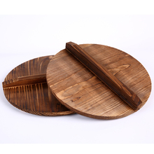 15-50cm Chinese nature fir handmade export anti-hot wood pot iron hypotenuse cover wok wooden pan lid kitchen accessory