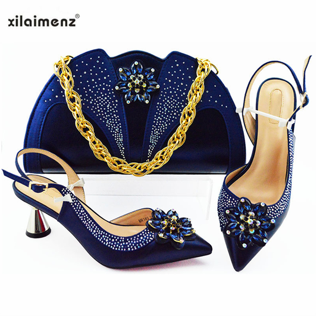 2019 Sexy Italian Women Matching Shoes and Bag Set In Heels Matching Shoes and Bag Set for Nigerian Party in Dark Blue
