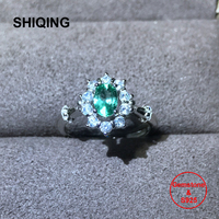 SHIQING Fine silver 925 jewelry nature emerald good quality luxury gemstone ring with fine packing as gift