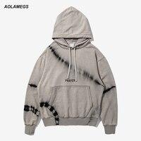 Aolamegs Mannen Hoodies Fashion Vintage Tie Dye Printing Sweatshirts Straat mannen Drop Schouder Casual Hood Truien Hiphop Tops