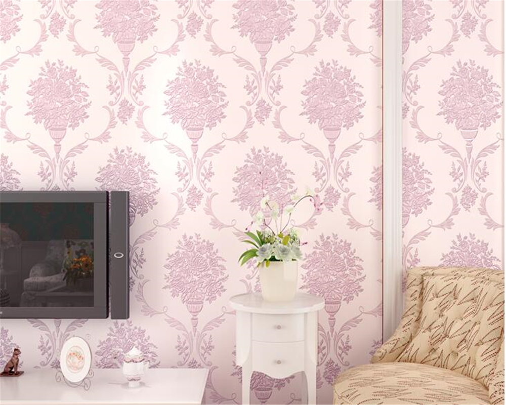 beibehang American nonwoven wall paper 3D restaurant TV European pastoral flowers vertical AB version of the 3d wallpaper behang beibehang european pastoral flowers