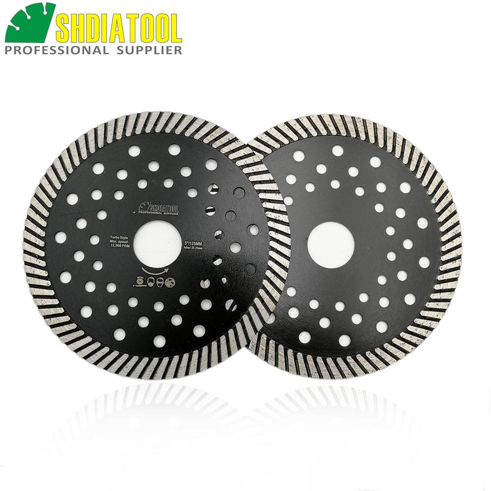 SHDIATOOL 2 Pcs Diamond Hot Pressed Turbo Blades Granite Marble Cutting Disc Multi Holes Sawblades Diamond Cutting Discs Wheel