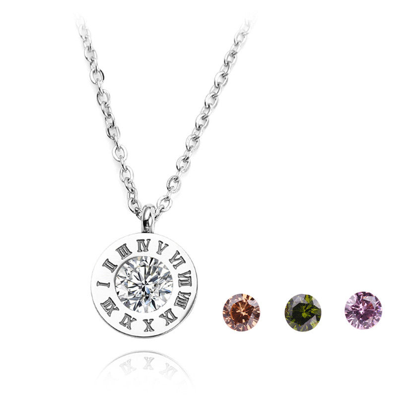 New Roman Numeral Replaceable Crystals Necklace Romantic
