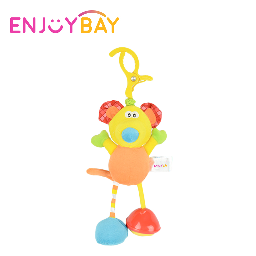 Enjoybay Colorful Animal Plush Rattle Toys Infant Pram Bed Stroller Hanging Wind Bells Toys Multifunctional Grib Toys for Baby