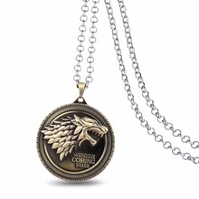 Game of Thrones Necklace Family Crest House Stark Wolf Lannister Silver Bronze Metal Pendant Neckalce Men Jewelry