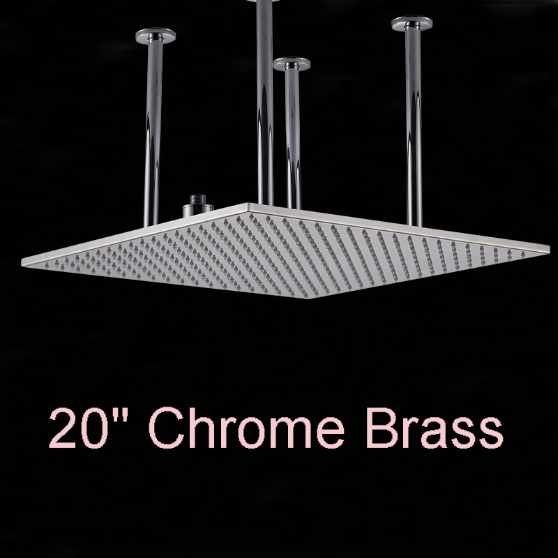 Wholesale And Retail Huge 20 Ceiling Mounted Square Shower Head Rainfall Top Shower Chrome Finish Top Over Shower Sprayer