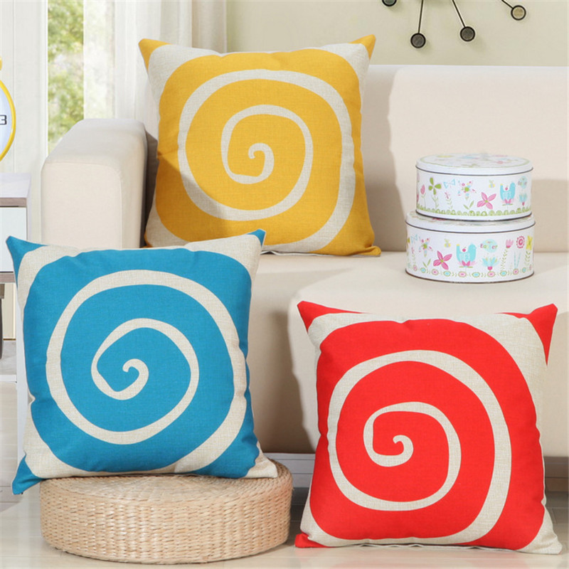 Red yellow blue circle whirlpool print pattern couch cushion Nordic style home decor chair car games pillow case throw