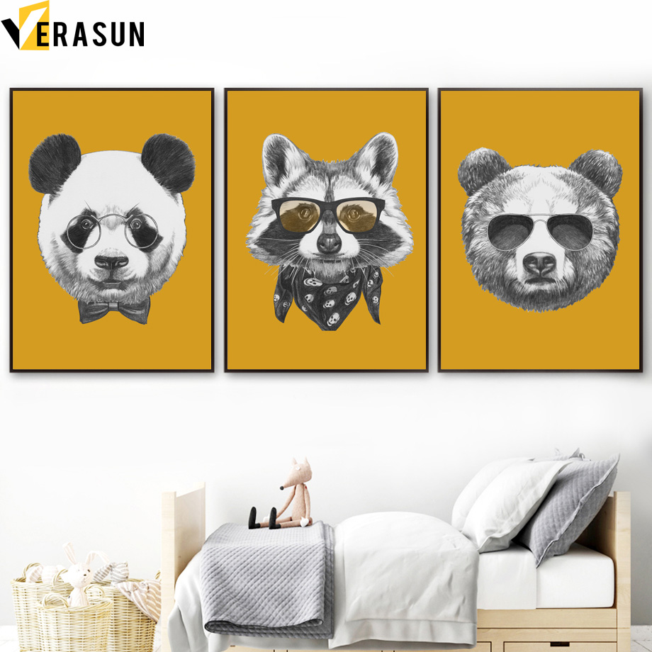 Dog Raccoon Quotes Wall Art Canvas Painting Nordic Posters And ...