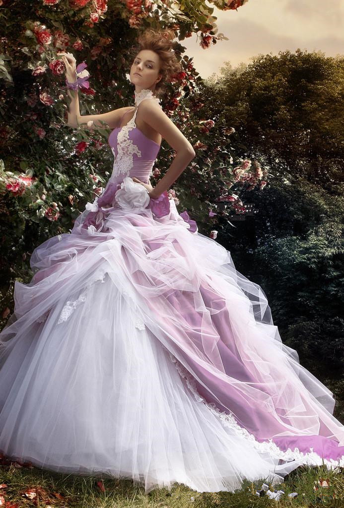 sexy applique purple and white wedding dresses one shoulder vestidos de noivas 2014 tulle ball gowns