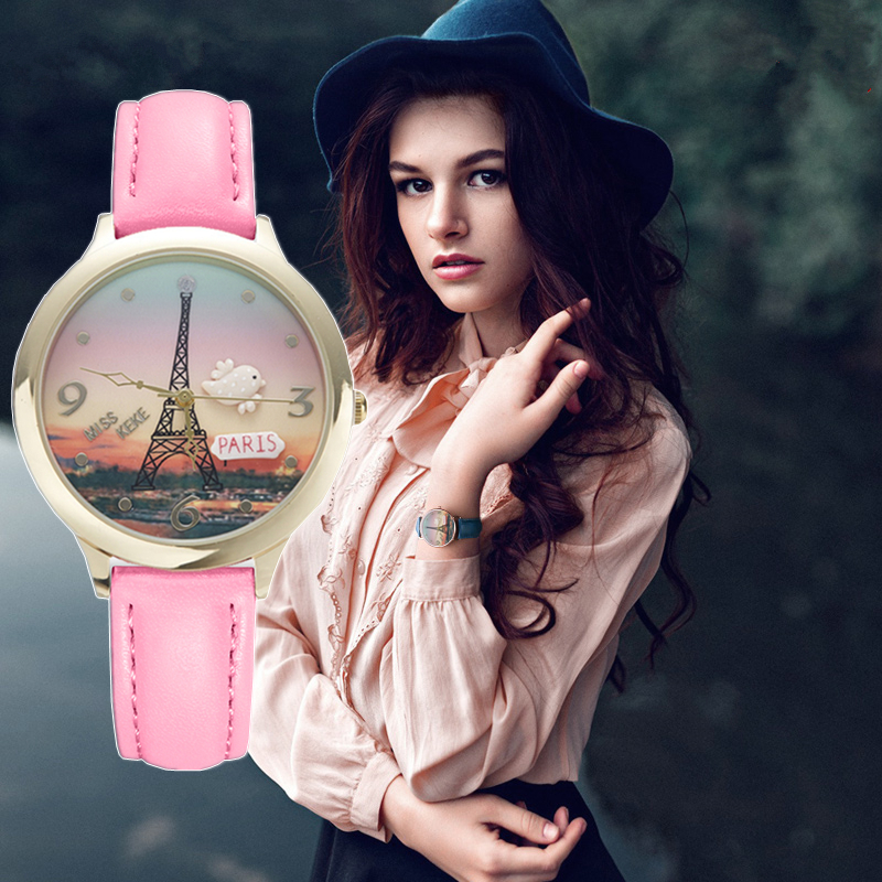 MISS KEKE 2017 clay cute 3D world Eiffel Tower rose gold Women's watches leather dress Ladies Wristwatches 823 clay craft