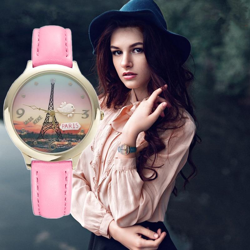 MISS KEKE 2019 clay cute 3D world Eiffel Tower rose gold Women's watches leather dress Ladies Wristwatches 823 ювелирное украшение из шифона eiffel tower с бриллиантами от 18s rose golds