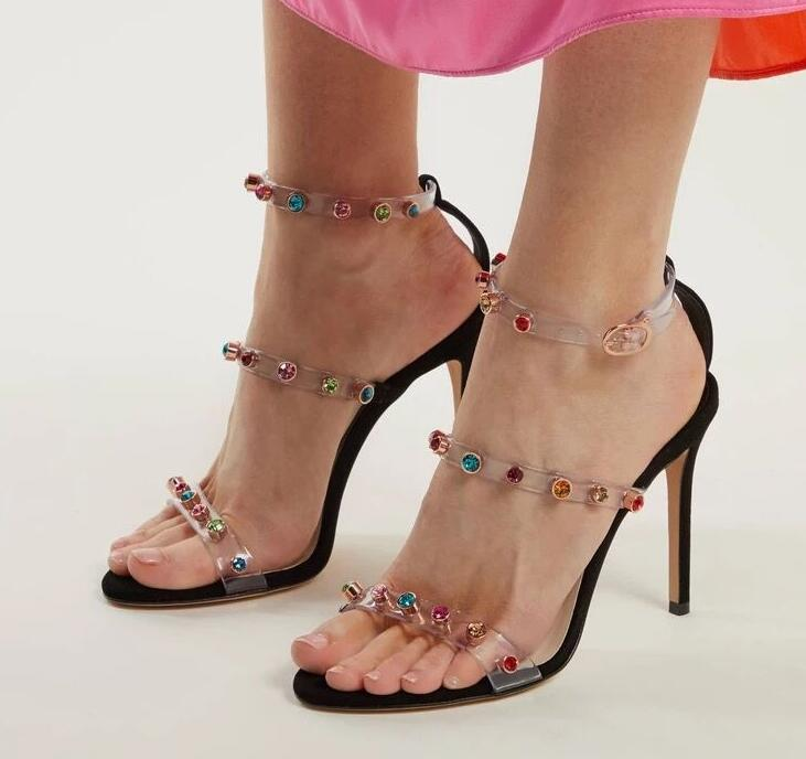 New Arrivals Clear PVC Ankle Strap Women Sandals Cut-out Colorful Crystal Studded Summer Shoes Black White Leather Wedding ShoesNew Arrivals Clear PVC Ankle Strap Women Sandals Cut-out Colorful Crystal Studded Summer Shoes Black White Leather Wedding Shoes