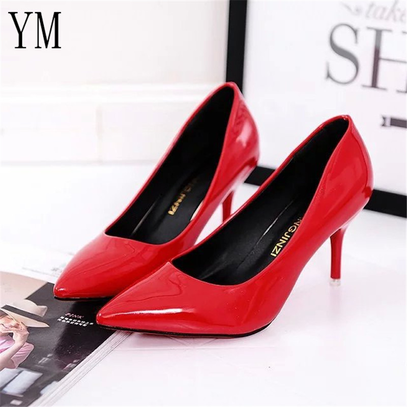 Hot Selling Women Shoes Pointed Toe Pumps Patent Leather Dress Red 8CM High Heels Boat Shoes Shadow Wedding Shoes Zapatos Mujer(China)