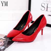 Venta caliente zapatos de mujer zapatos de punta puntiaguda vestido de charol rojo 8 CM zapatos de tacón alto zapatos de barco sombra zapatos de boda zapatos Mujer