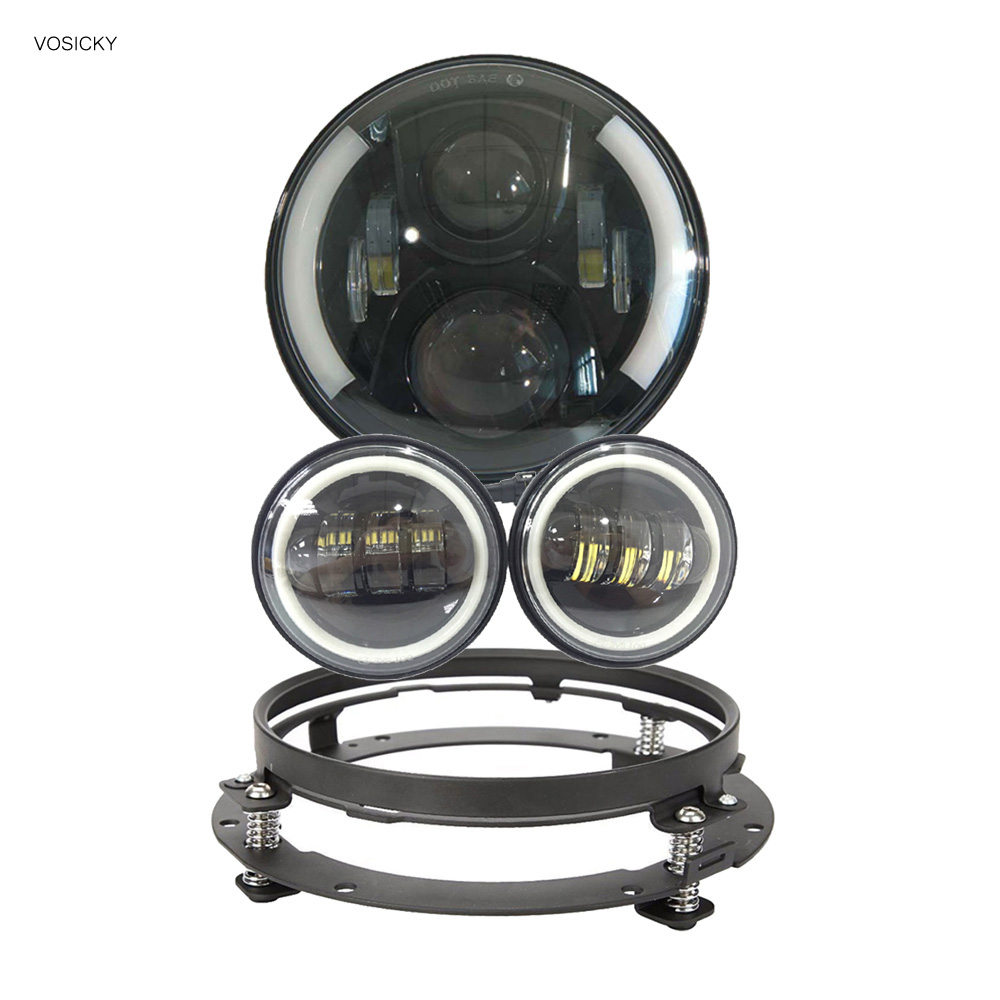 7 inch round Led HeadlightDaymaker DRL angel eye with 4.5 inch Fog Lights halo with 7bracket support ring for jeep unionlux 7 led headlight with white halo angel eye ring drl