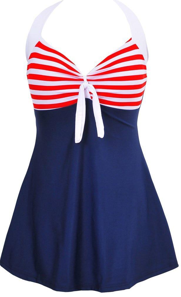 Womens Retro Vintage Sailor Pin Up Swimsuit Halter One Piece Skirtini Cover Up Swimdress Plus Szie US 6-US 18 Bathing suit halter vintage pin up dress